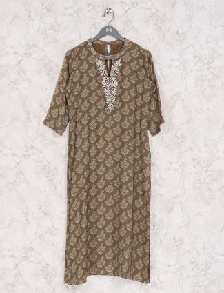 Brown casual round neck printed kurti