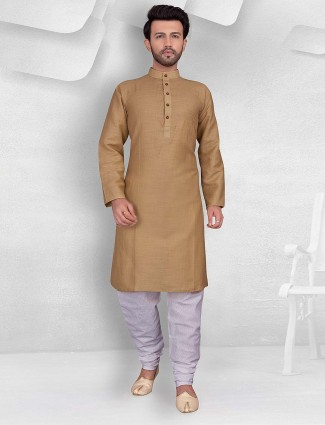 Brown color cotton festive kurta suit
