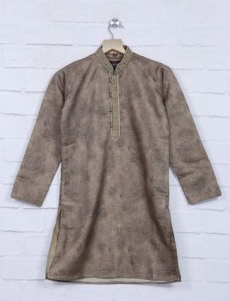 Brown color cotton festive wear kurta suit