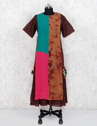 Brown color georgette round neck punjabi salwar suit