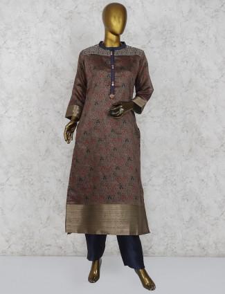 Brown color printed cotton silk punjabi salwar suit