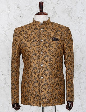 Brown color printed jute fabric jodhpuri blazer