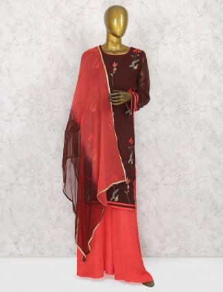 Brown color punjabi palazzo suit in georgette