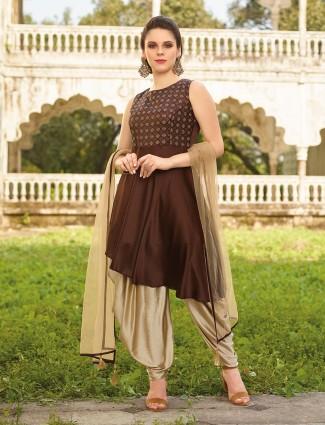Brown color silk festive wear dhoti suit