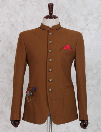 Brown color solid jodhpuri suit