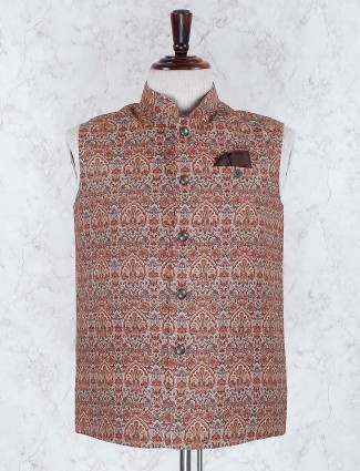 Brown color terry rayon fabric waistcoat