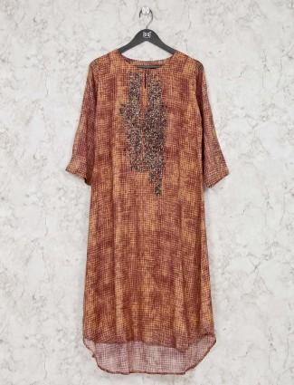Brown cotton festive function kurti