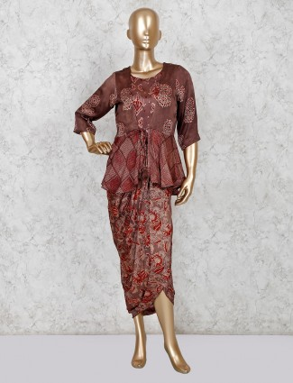 Brown cotton jacket style indo western design