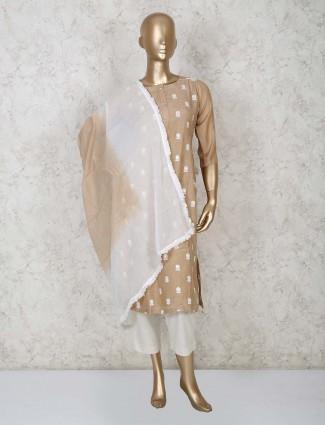Brown cotton punjabi salwar suit design for festival
