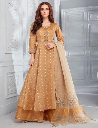 Brown cotton silk festive or party punjabi palazzo suit