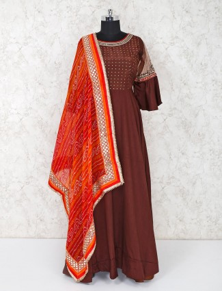 Brown cotton silk party or wedding wear anarkali suit