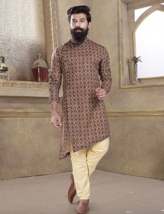 Brown cotton silk printed kurta suit