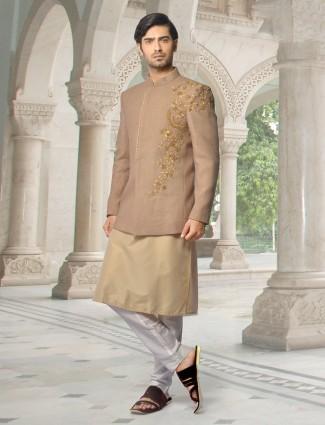 Brown designer indo western for mens