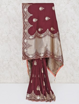 Brown festive wear silk saree
