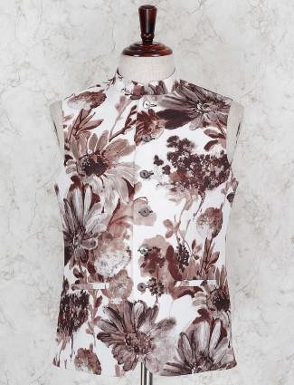 Brown flower printed sleeveless waistcoat