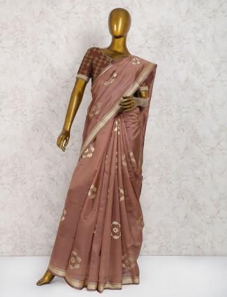 Brown hue cotton silk festive saree