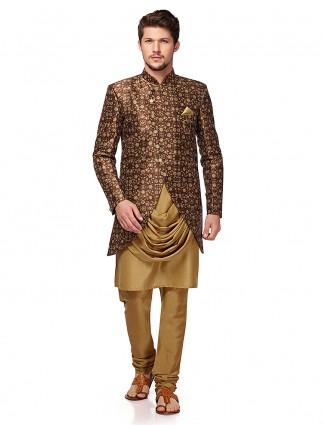 Brown hue designer party wear indo western