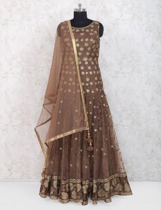 Brown hue floor length anarkali suit in net fabric