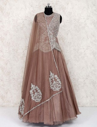 Brown hue raw silk festive lehenga choli
