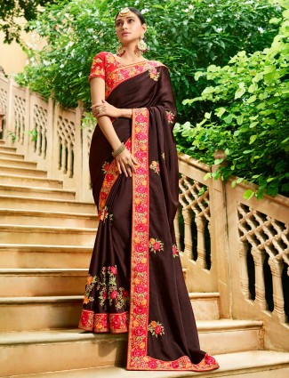 Brown hue semi silk festive wear saree