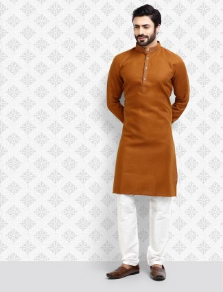 Brown hue simple cotton fabric kurta suit