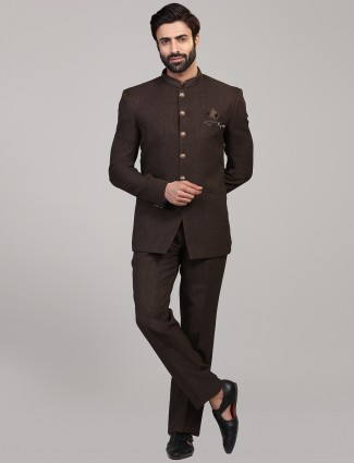 Brown hue solid jodhpuri party coat suit