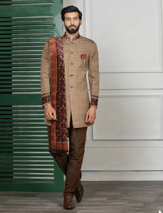 Brown hue solid party wear semi indo western
