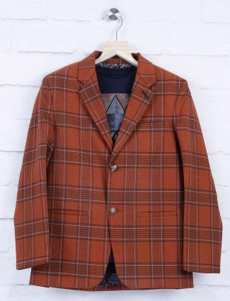 Brown hue terry rayon tweed pattern blazer