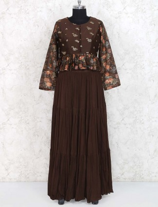 Brown hued chiffon fabric lehenga choli