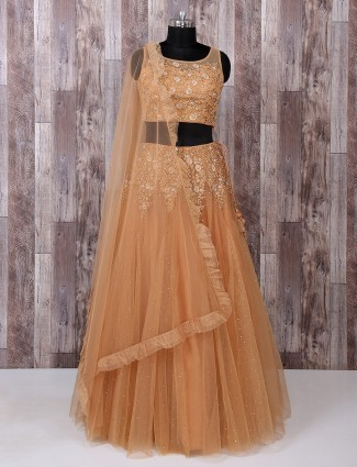Brown net fabric lehenga choli