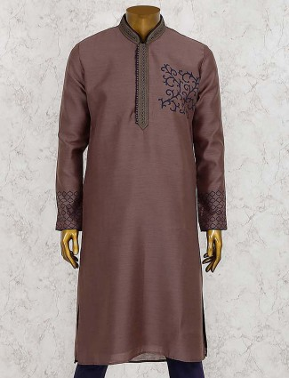 Brown party wear cotton silk kurta suit