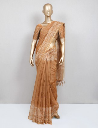 Brown printed cotton saree for festive
