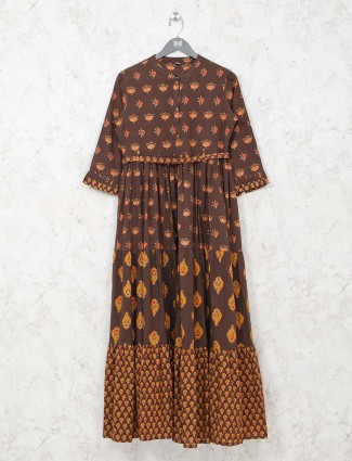 Brown printed cotton tunic