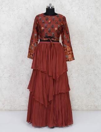 Brown printed layer style lehenga choli in georgette