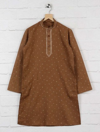 Brown printed pattern boys kurta suit