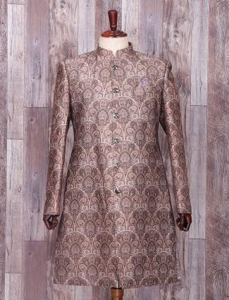 Brown printed silk festive wear indo western