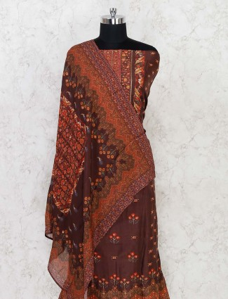 Brown printed unstitched dress material in cotton