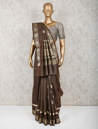 Brown pure silk saree