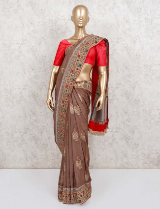 Brown raw silk saree with same pallu