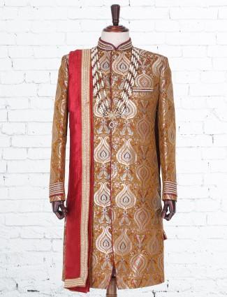 Brown silk indo western