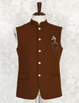 Brown solid party function terry rayon waistcoat