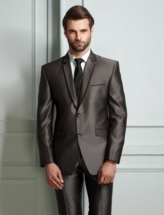 Brown solid party wear official suit