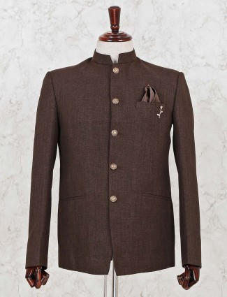 Brown solid stand neck jodhpuri blazer