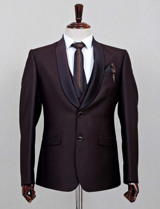 Brown solid wedding wear official suit