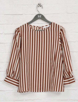 Brown stripe cotton casual top