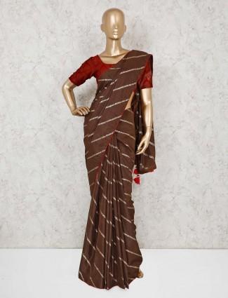 Brown leheriya design cotton silk saree