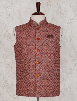 Brown terry rayon party waistcoat