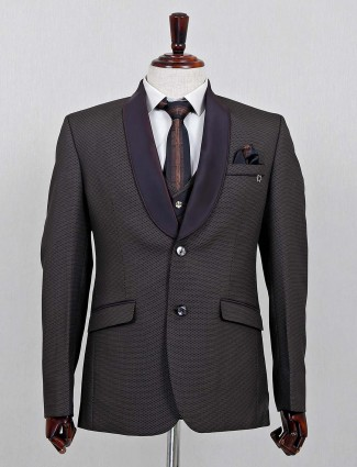 Brown three piece terry rayon coat suit