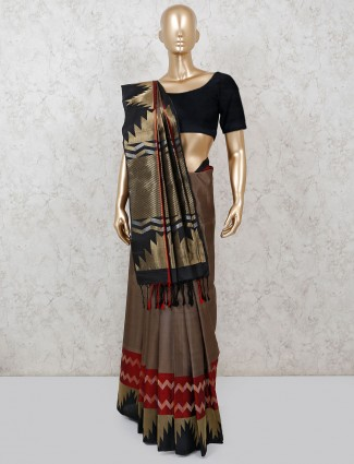 Brown wedding pure silk zari weaving saree