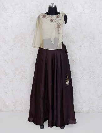 Cape style coffee brown designer cotton silk party lehenga choli